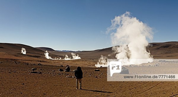 hoch  oben  Feld  Messgerät  Heiße Quelle  Bolivien  Südamerika