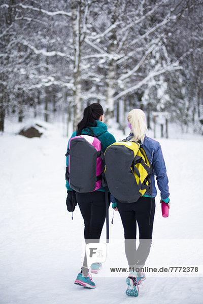Rückansicht von mittleren erwachsenen Freundinnen mit Gymnastiktaschen im Schnee