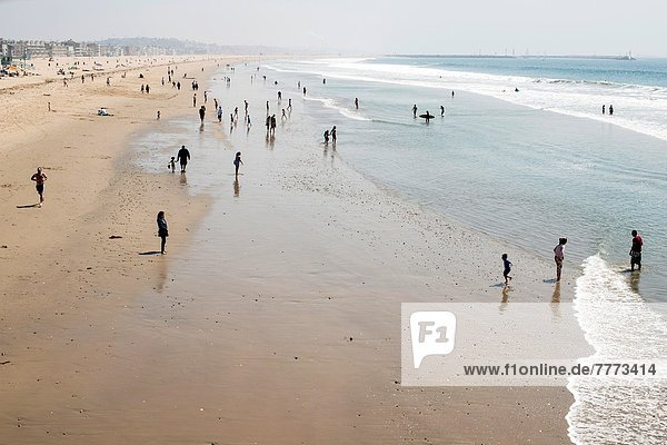 people walk on the beach at Venice Beach  California  USA