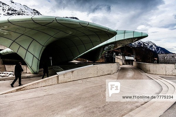 Station of Innsbrucker Nordkettenbahnen by architect Zaha Hadid in Nordkette  Innsbruck  Austria  Europe.