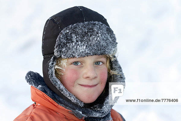 Boy with a hat in winter  portrait