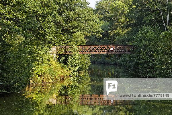 Wald und alte Stahlbrücke  Canal des Vosges  früher Canal de l?Est