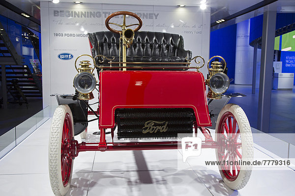 The oldest surviving Ford  a 1903 Ford Model A  on display at the North American International Auto Show