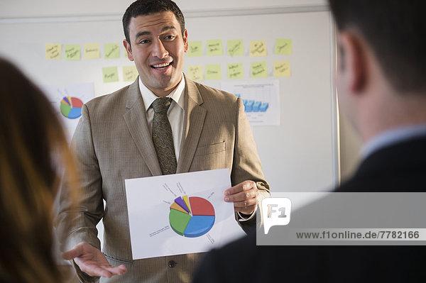 benutzen Geschäftsmann Besuch Treffen trifft Graph