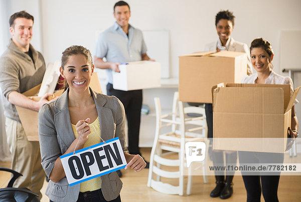 aufmachen Mensch Büro Menschen Business neu