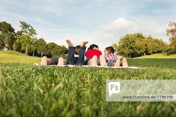 Familie mit zwei Kindern auf Gras liegend  Rückansicht