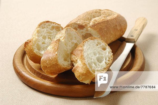 französisch  Brot  Messer  Scheibe  Blechkuchen