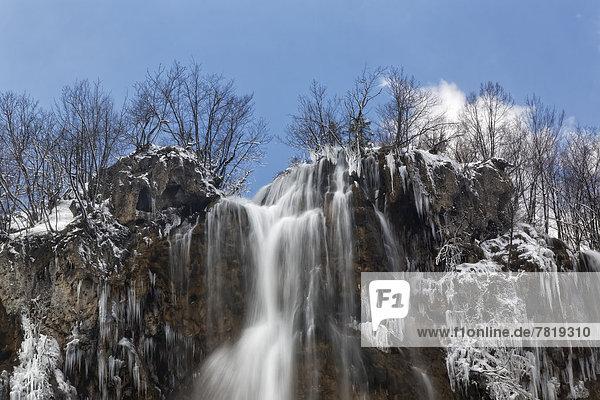 Large Waterfall or Veliki Slap  in winter