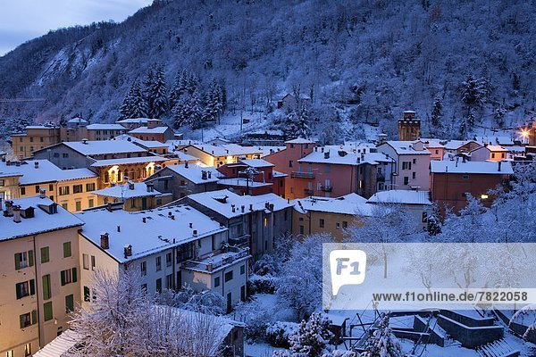 Italy  Emilia  Porretta Terme  landscape of the town in winter at dusk