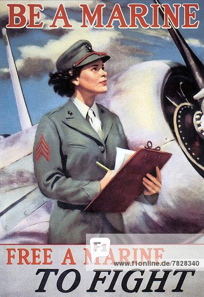 Vereinigte Staaten von Amerika  USA  Flugzeug  Frau  Produktion  Poster  Krieg  amerikanisch  Bewerbung  Zweiter Weltkrieg  II.