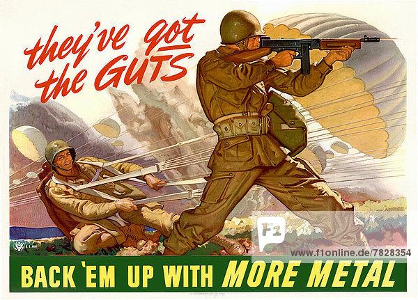 Vereinigte Staaten von Amerika  USA  Recycling  Kampf  Soldat  Poster  Schlacht  Krieg  amerikanisch  Schrottplatz  Fallschirmjäger  Kollektion  Metall  Zweiter Weltkrieg  II.