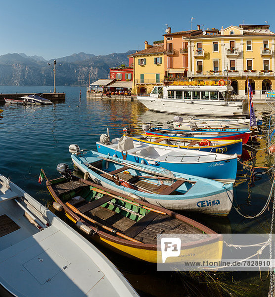 Italy  Europe  Lago di Garda  Verona  Malcesine  Port  city  village  water  autumn  mountains  lake  ships  boat