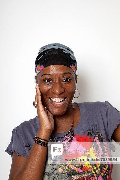 Frau  lachen  Karibik  Studioaufnahme