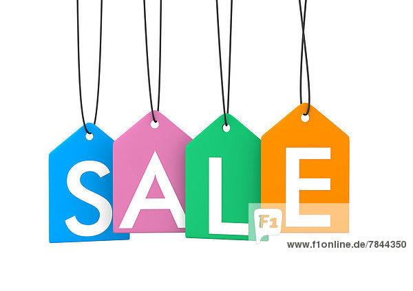 Bunte Verkaufsanhänger auf weißem Hintergrund