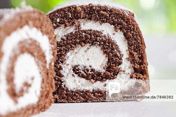 Chocolate roll sponge cake  close up