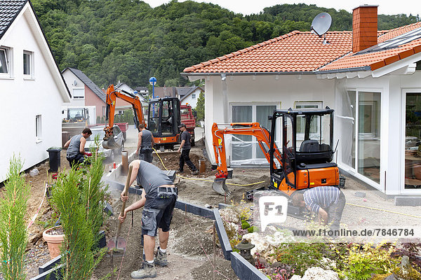 Deutschland  Rheinland-Pfalz  Arbeiter auf der Baustelle