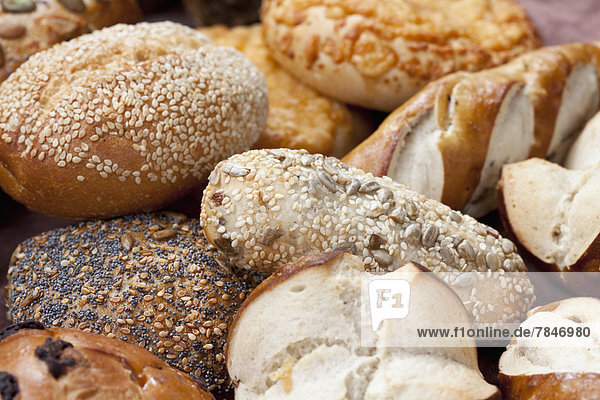 Mixed sorts of bread and rolls  close up