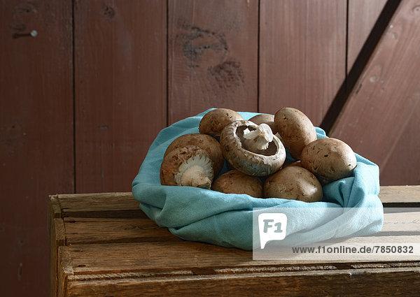 Bio-Braune Pilze im Tuch auf Holztisch