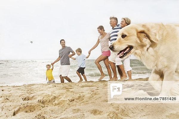 Spanien  Familienwandern am Strand von Palma de Mallorca