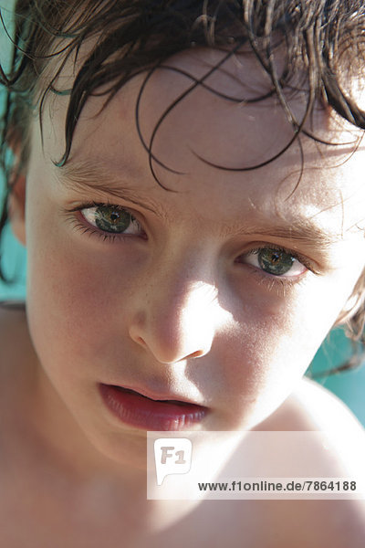 Boy with wet hair  portrait