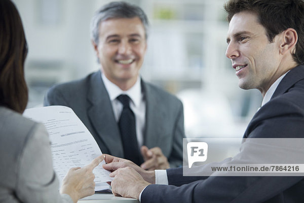 Businessman meeting with colleagues