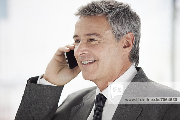 Business executive using cell phone