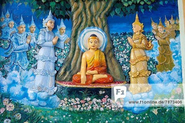 Lifestyle  Wand  Halle  streichen  streicht  streichend  anstreichen  anstreichend  Zeichnung  Myanmar  Buddha  Gebet  Shwedagon Pagode