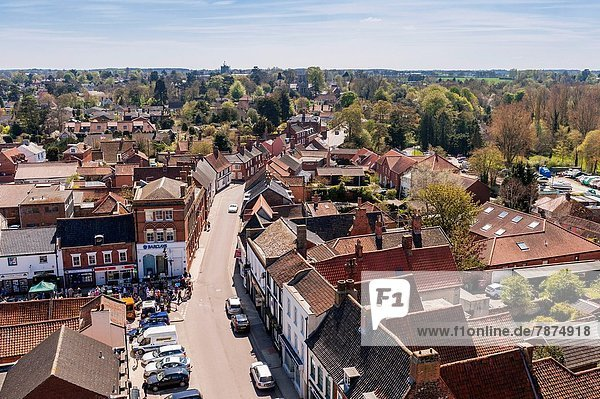 A view of Beccles from the top of the church tower in Beccles   Suffolk   England   Britain   Uk.