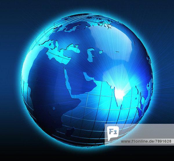 Blauer Globus mit Lichtstrahl über Indien