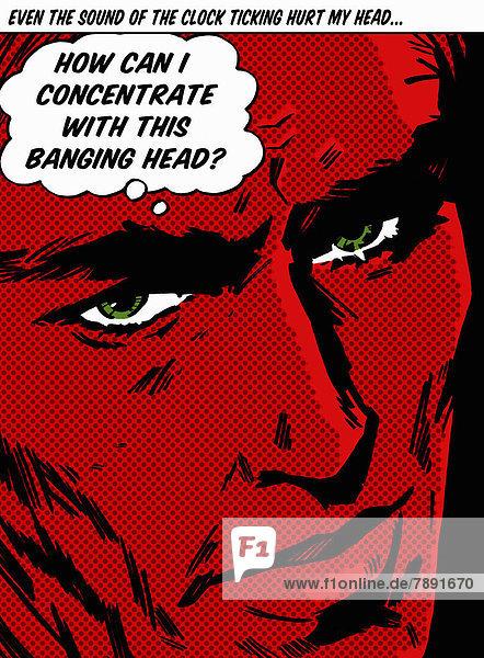 Mann mit rotem Gesicht klagt über Kopfschmerzen in Gedankenblase