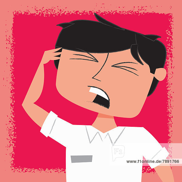 Irritierter Mann mit Kopf in der Hand