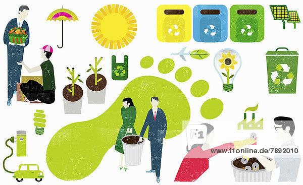 Collage von umweltfreundlichen Symbolen und Geschäftsmännern mit CO2-Fußabdruck Collage von umweltfreundlichen Symbolen und Geschäftsmännern mit CO2-Fußabdruck