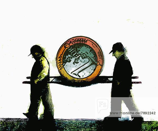 Männer tragen Euromünze auf einer Bahre