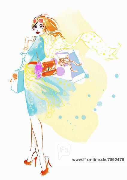 Portrait einer eleganten Frau mit Einkaufstaschen