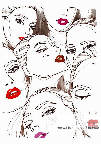 Collage von Frauengesichtern mit Lippenstift mund
