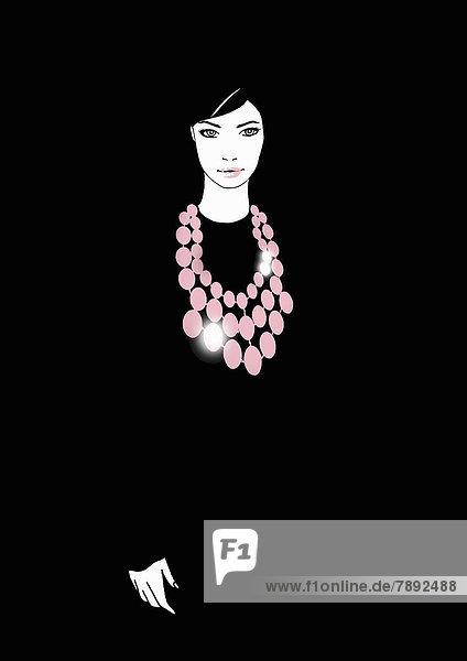 Portrait einer Frau mit pinkfarbener Halskette