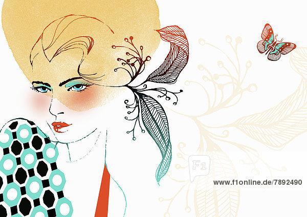 Portrait einer Frau mit Blumenmuster