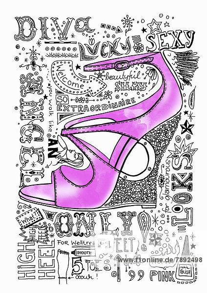 Pinkfarbener High Heel Wedge mit Text