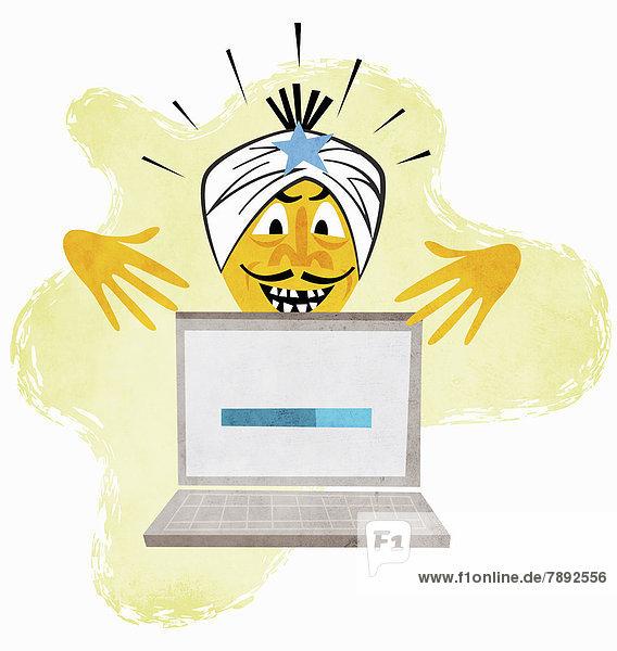 Geist mit Turban gestikuliert über einem Laptop mit Statusbalken
