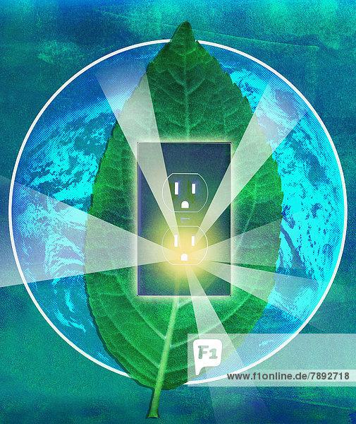 Sonnenstrahlen leuchten aus Steckdose in einem Blatt auf einem Globus Sonnenstrahlen leuchten aus Steckdose in einem Blatt auf einem Globus