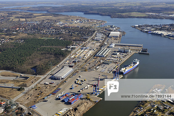 Aerial view  Terminal Seelandkai in the Port of Luebeck
