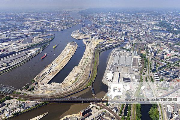 Luftbild  Übersicht Hafencity  Ostteil zweiter Abschnitt zwischen Hafen und Großmarkt