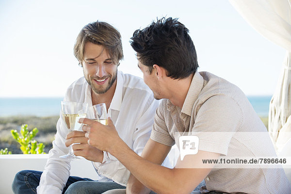 Zwei männliche Freunde stoßen mit Wein an.