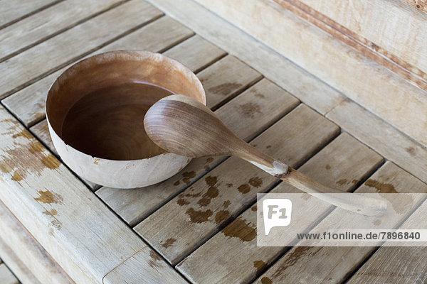 Hochwinkelansicht einer Pfanne und Schale in einer Sauna