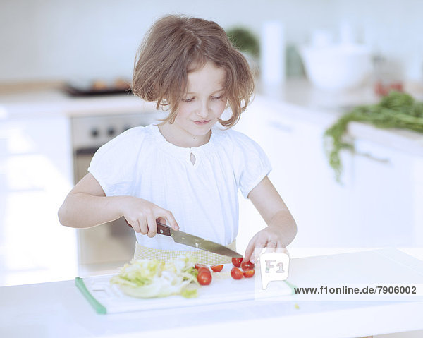 Küche  Salat  Produktion  Tomate  jung  hacken  Mädchen