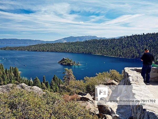 Mann  über  See  Ignoranz  Insel  Lake Tahoe  Kalifornien