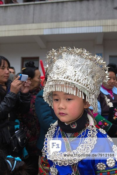China   Guizhou province   Yatang town   Green Miao Lusheng festval   children   girl.