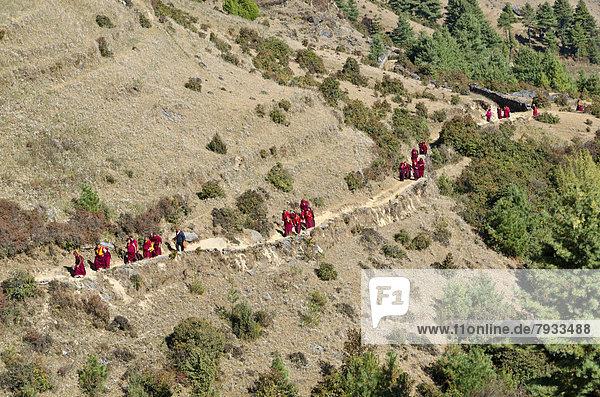 Mönche und Nonnen in roten Gewändern laufen über einen schmalen Pfad an einem Berghang