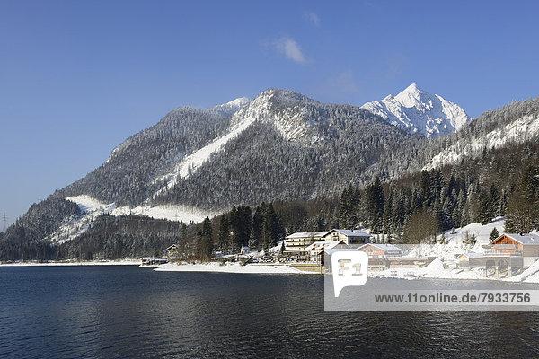 Winter morning at Walchensee Lake  Mount Herzogstand