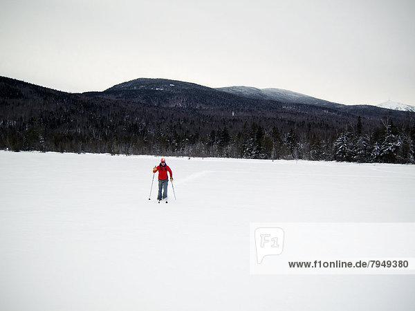 Frau  Berg  bedecken  jung  Teich  Schnee